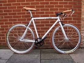 handmade fixed gear track bike Campagnolo Veloce Natural lether