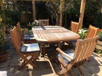 Bridgman hardwood garden table and 6 chairs.