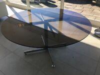 Pieff Round smoked glass dining table