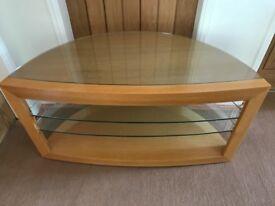 Oak and glass tv unit
