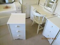CHEST OF TREE DRAWERS BEDSIDE CABINET PAINTED LAURA ASHLEY COUNTRY WHITE