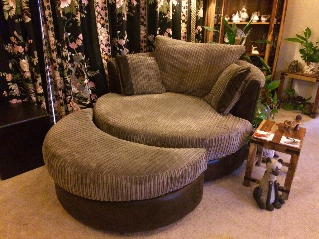 Dfs Swivel Cuddle Chair With Half Moon Stool Amp 3 Seater