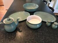 Denby Regency Green Tea pot fruit bowl serving bowl platter salt pepper AS NEW