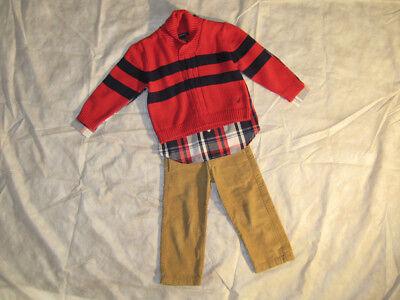 Toddler Boy Set Nautica 3 Piece Outfit Pants Shirt Sweater Corduroy Khaki Plaid