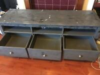 Wood table TV with 3 drawers