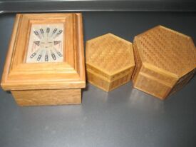 Three Decorated Wooden Jewellery/Trinkets Boxes for £5.00