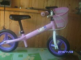 Pink and Purple Balance Bicycle with basket Also wee tricycle with boot, straps and steering handle