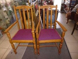 a pair of church vestry chairs