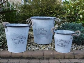 Set of 3 vintage style metal planter storage buckets with rope handles