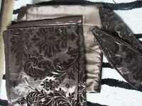 Chocolate brown curtain and lamp bundle