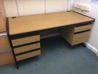 Office Desk - 1.57 metres Wide - VGC, 5 Drawers, Light Oak Finish (Emsworth)