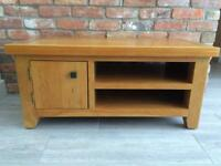 Solid light oak TV unit & matching side tables