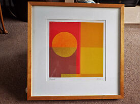"""Two absract framed prints by Amaina (vintage Australian artist) """"Sands"""" & """"Sunset"""""""
