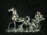 Brand new Italian style vintage beautiful silver horse carriage ornament ceramic home decor