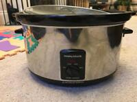 Excellent condition - Morphy Richards Oval Slow Cooker, 6.5L - Silver.
