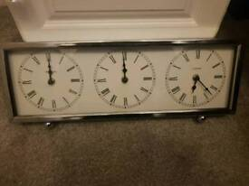 Silver clock. New York , London and Paris time