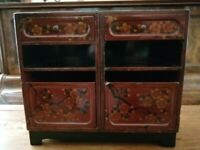 CHINESE/ORIENTAL CHERRY BLOSSOM RED LACQUERED CABINET