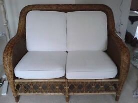 John Lewis wicker/cane 2-seater sofa & chair with white/natural cushions, excellent condition