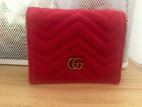 Gucci Coin Card Purse Wallet Red Velvet & Leather