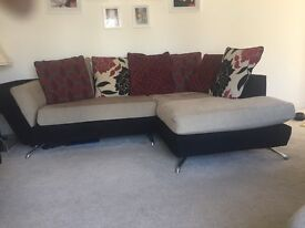 Excellent condition left hand chaise corner sofa, with cuddles swivel chair and matching footstool