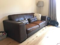 3 seater sofa, armchair and matching large leather foot stool