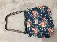 Cath kidston reversible shoulder bag. One side green polka dot other side navy floral.