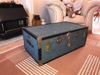 Antique Overpond Steamer Trunk Vintage Travel Chest Retro Boarding School Trunk