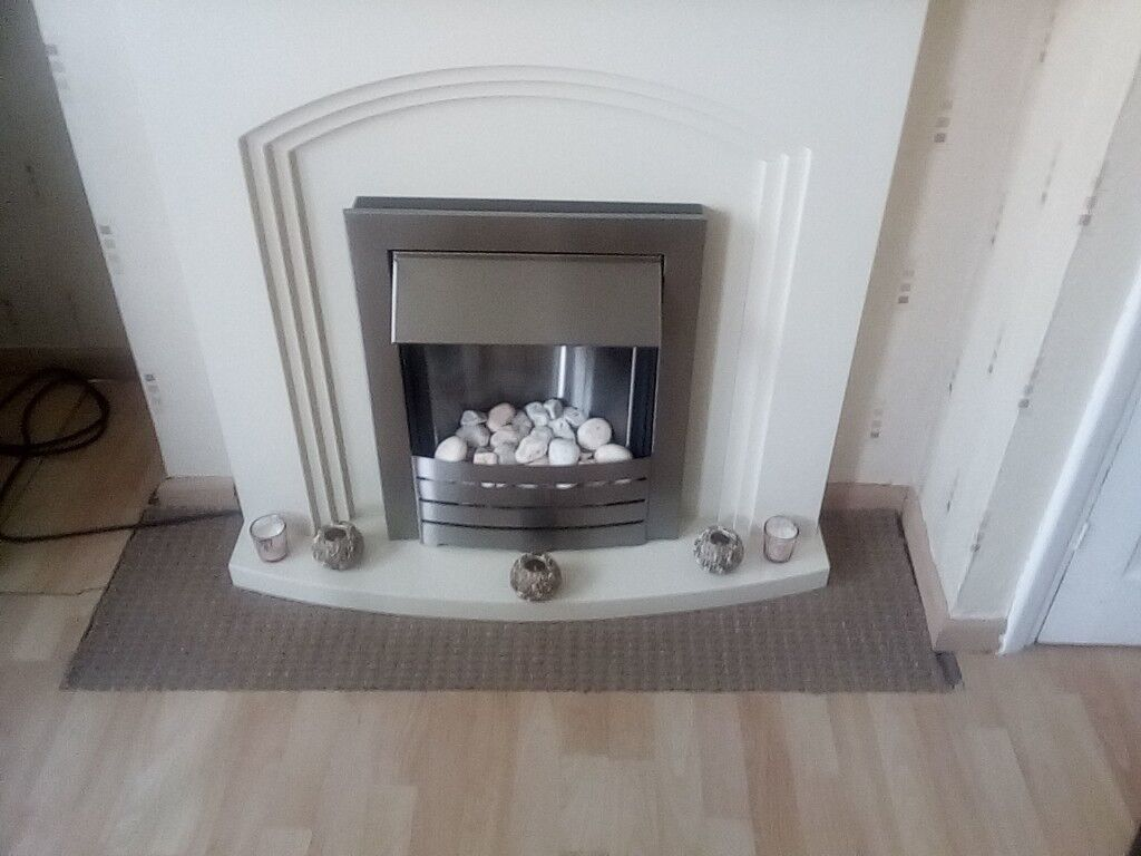 White Fireplace with Electric Fire included (free-standing)