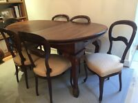 Victorian dining extendable table and six chairs