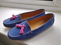 Fullerton Moccasins Cobalt Blue Flats, made in Italy, size 5