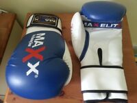 Virtually brand new boxing gloves (16 oz) blue and white