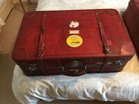 Pair of Vintage matching REAL LEATHER suitcases