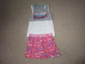 Girls Pineapple Age 9-10 Sleepwear Set ((vest and shorts)