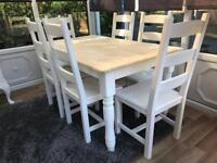 Rustic 5ft Shabby Chic Oak Table and 6 Chairs