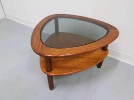 Danish G Plan style coffee table smoked glass top mid century 60s