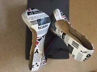 Newspaper Union Jack Print High Heels with red sole. Size 37 (UK 4) - Worn once!