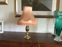 Brass lamp with peach shade