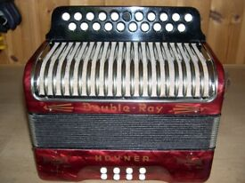 Hohner, Black Dot, Double Ray, 2 Voice, B/C Tuned, Melodeon.