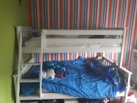 Triple sleeper bunk bed .atlantis white solid wooded pine finsh from happy beds