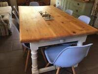 Farmhouse vintage painted pine table shabby chic dining kitchen scrub top