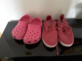 Girls Timberland Earthkeepers size 13M and a pair of pink Crocs size 10/11