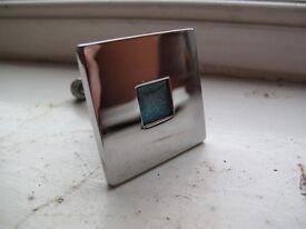 6 contemporary cupboard door knobs, solid chrome steel