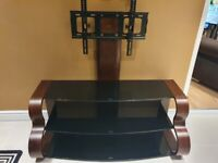 Tv Stand Solid Walnut Wood And Tinted Glass Shelfs