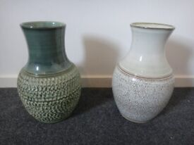 2 x large 1970s Denby pottery vases 33 cms high x 21 cms wide £15 each