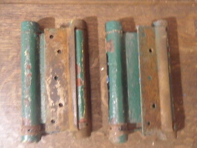 2 antique heavy 2 way double swing door hinges need restoring spares repair 18D