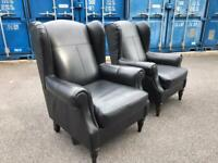 Black real leather armchair possible delivery