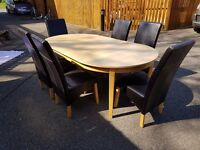 Large Ikea Extending Dining Table & 6 Black Leather Chairs FREE DELIVERY 0683