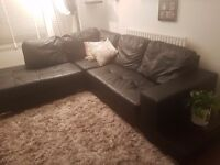 Faux leather corner sofa with side table attached together with arm chair Croydon