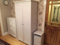 IKEA BEDROOM SET WARDROBE CHEST OF DRAWERS AND BED SIDE CABINET