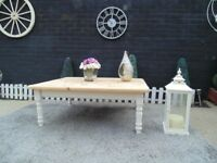 EXTRA LARGE SOLID PINE FARMHOUSE COFFEE TABLE PAINTED WITH LAURA ASHLEY CREAM COLOUR AND WAXED